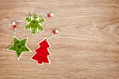 Christmas decor on wooden background with copy space