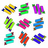 Set of cartoon paper colored zigzag Ribbons