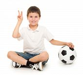 soccer boy show two finger studio isolated