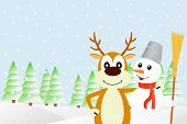 Illustration the deer and the snowman.
