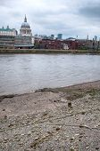 Famous River Thames with Historic Christian St Paul Church View Afar