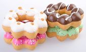 stock photo of donut  - Donuts on the background. Donut Colorful Donuts on the background