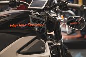 Detail Of Harley-davidson Motorbike At Eicma 2014 In Milan, Italy