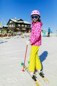 Ski vacation, winter vacation  - skier in the Alps