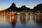 Sunset Lagoon Rodrigo De Freitas (lagoa), Mountain, Rio De Janeiro, Brazil