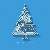 Vector christmas tree from digital electronic circuit on blue background with long shadow