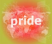 The Word Pride On Business Digital Screen