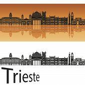 Trieste Skyline In Orange Background