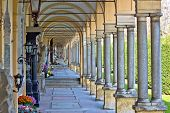 pic of arcade  - Monumental architecture of Mirogoj cemetery arcades in Zagreb capital of Croatia - JPG