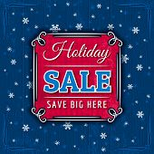 Blue Christmas Background And Sale Offer, Vector