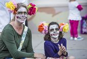 Woman And Girl In Dia De Los Muertos Makeup