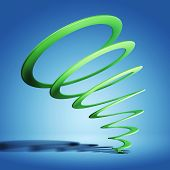 Green spiral on blue