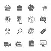 Shopping e-commerce icons set black