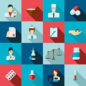 Pharmacist icon flat set