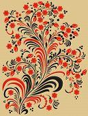 Decorative Flowers In Folk Style