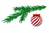 Christmas ball with white stripes and pine tree isolated on white background.  Illustration.