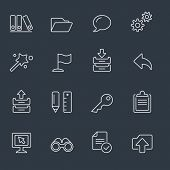 Computer icons, thin line design, dark background