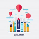 Cityscape background City building silhouettes Flat design