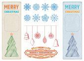 Set christmas ornaments and decorative designs. vintage card, label, snowflakes. Christmas elements.