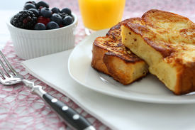 foto of french toast  - French Toast and Blueberries in breakfast setting - JPG