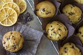 image of chocolate muffin  - Chocolate Chip and Orange Muffins on a Rack with Dried Orange Slices and Chocolate Chips on the Side - JPG