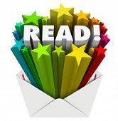 picture of soliciting  - Read word in 3d letters and stars in an open envelope to share a message in advertising - JPG