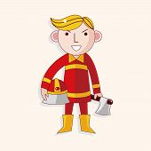 picture of fireman  - Fireman Theme Elements - JPG