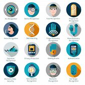 image of fingerprint  - Biometric authentication icons set with iris retina face and fingerprint recognition symbols isolated vector illustration - JPG