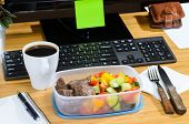 foto of lunch box  - homemade lunch box at modern stylish work place - JPG
