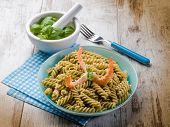 picture of pesto sauce  - fusilli with shrimp and pesto sauce - JPG