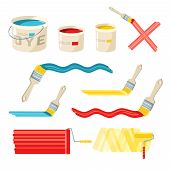 stock photo of bristle brush  - Roller and paint buckets and color brushes decorative icons set isolated vector illustration - JPG
