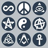 picture of pentacle  - Esoteric symbols vector icon set in blue and white tones - JPG