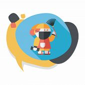 stock photo of ou  - Chinese New Year Flat Icon With Long Shadow - JPG