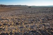 stock photo of plowed field  - Beautiful plowed field autumnal landscape photographed in nice morning light under blue sky - JPG