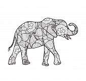 pic of indian elephant  - vector elephant silhouette decorated with abstract pattern - JPG