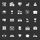 picture of asset  - Asset and property icons on gray background stock vector - JPG