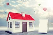 picture of gable-roof  - White house with red roof - JPG