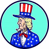 stock photo of uncle  - Illustration of Uncle Sam wearing hat with stars and stripes American flag viewed from side set inside circle on isolated background done in cartoon style - JPG