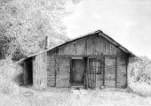 foto of monochromatic  - Romantic wooden cabin in mountain landscape beautiful detailed monochromatic pencil drawing - JPG