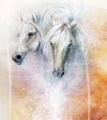 foto of paint horse  - Two white horse spirits above a shaman hand beautiful detailed oil painting on canvas - JPG