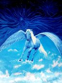image of pegasus  - Flying white Pegasus horse high up in the skies beautiful detailed oil painting on canvas - JPG