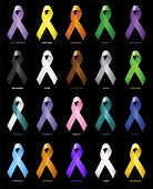 stock photo of leukemia  - Coloured ribbons representing the support of tackling different cancers - JPG