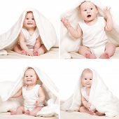 Picture of collage wonderful baby on a white background.