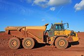 foto of dump_truck  - dump truck n a road construction site - JPG
