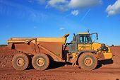 stock photo of dump-truck  - dump truck n a road construction site - JPG