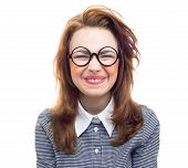 image of geek  - Funny geek or loony girl showing gritted teeth isolated on white background - JPG
