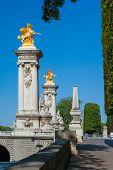 stock photo of bridges  - The pillars on the Pont Alexandre III bridge - JPG