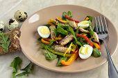stock photo of quail  - Fish salad with quail eggs - JPG