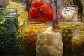 Jars With Various Preserved Food