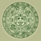 picture of aztec  - Stylized Aztec Calendar in green color - JPG